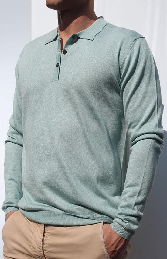 Polo seta cashmere minty indossato
