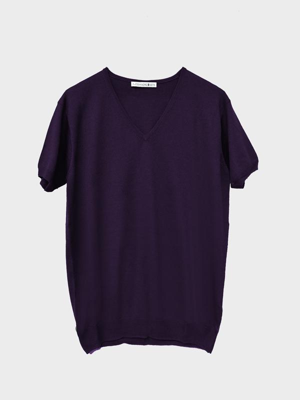 T-shirt scollo v viola