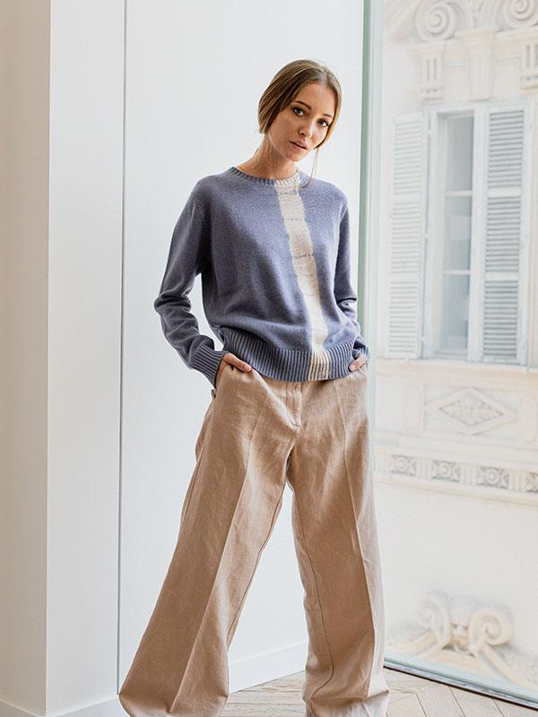 London vertical tiedye in seta e cashmere slate/jute indossato