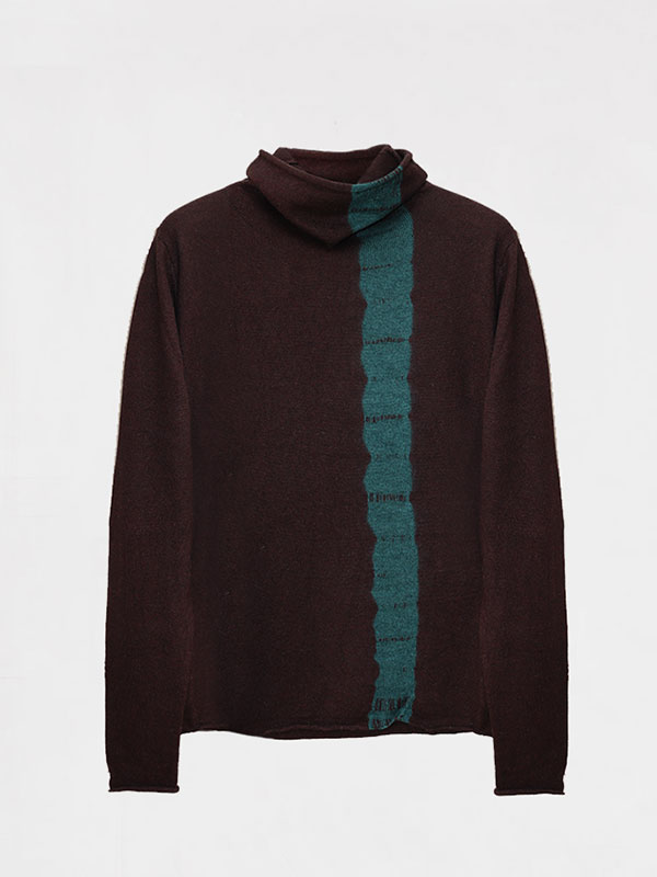 Joy vertical tiedye in seta e cashmere atlantis/rye
