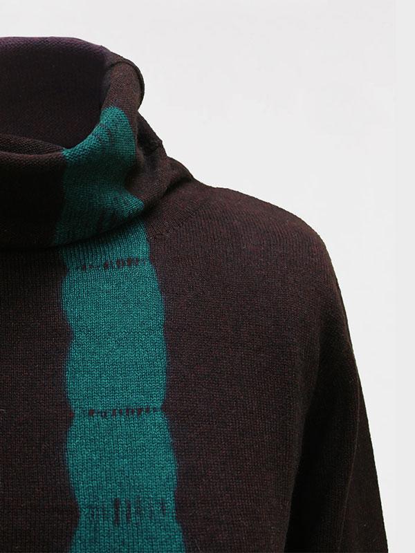 Joy vertical tiedye in seta e cashmere atlantis/rye dettaglio scollo