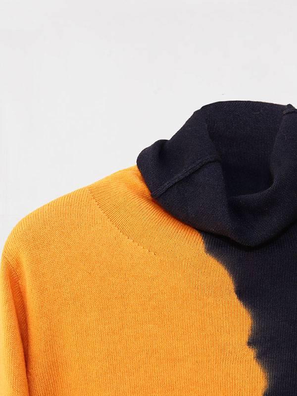 Joy space tiedye in seta e cashmere navy/honey dettaglio scollo