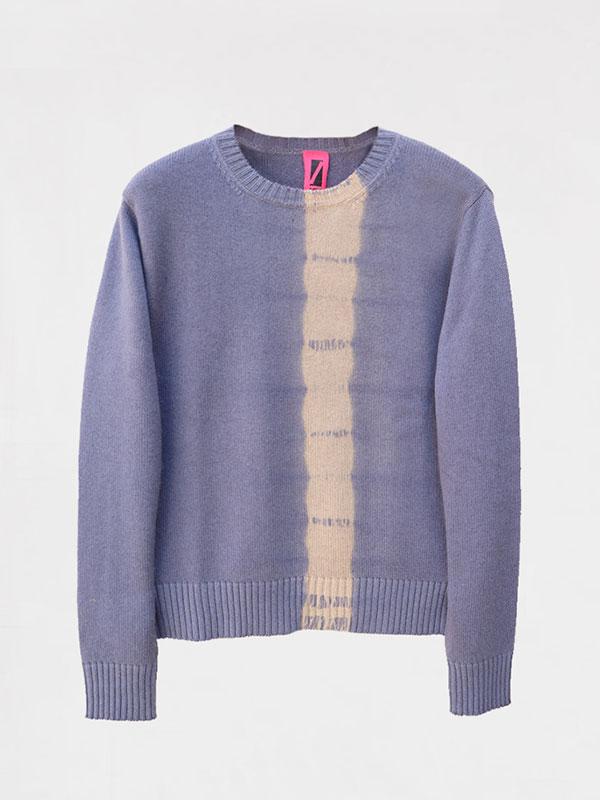 London vertical tiedye in seta e cashmere slate/jute