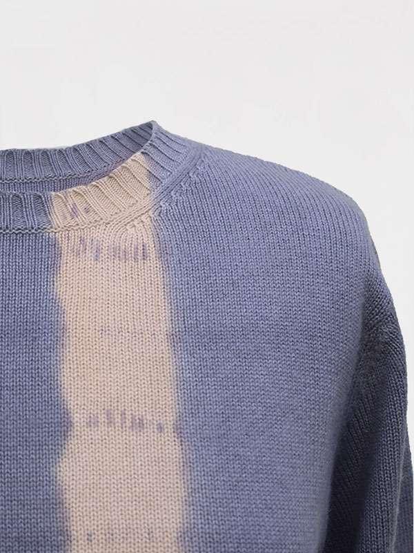 London vertical tiedye in seta e cashmere slate/jute dettaglio scollo