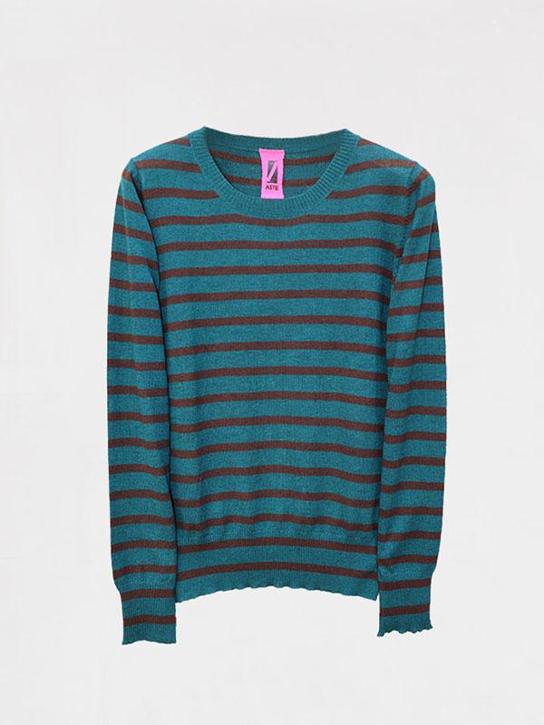 Malaga stripes in seta e cashmere atlantis/rye