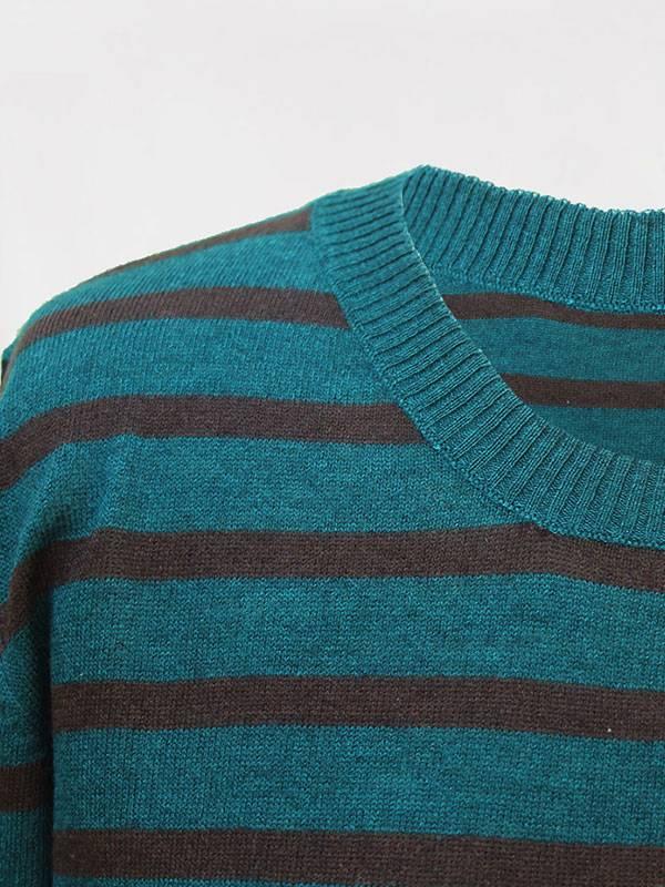 Malaga stripes in seta e cashmere atlantis/rye dettaglio scollo