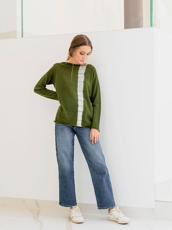 Maddalena vertical tiedye in cashmere oxford/scout indossato