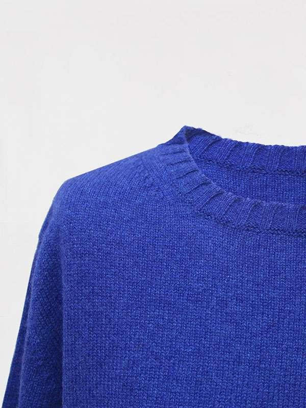 London girocollo in cashmere blu elettrico dettaglio scollo