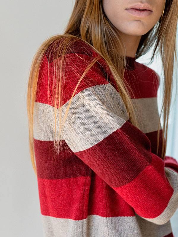 London girocollo in lana e cashmere indossato dettaglio scollo