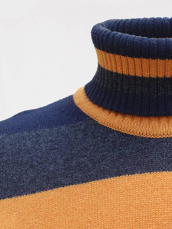 Sophie dolcevita a blocchi in lana e cashmere navy,crow,honey dettaglio scollo