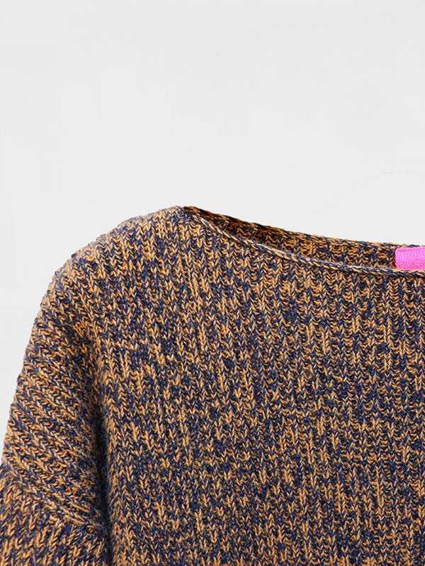 Maddalena moulinè in lana e cashmere dettaglio scollo