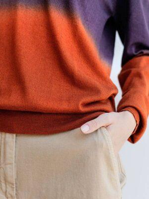 Oxford shade in seta e cashmere indossato dettaglio