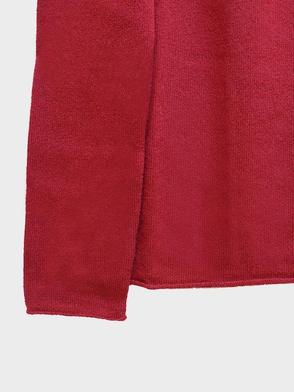 Mentone barchetta in cashmere cherry dettaglio