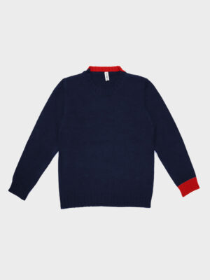 Baby charlie navy red in cashwool
