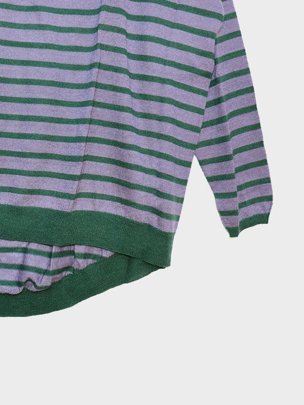 Nice rigato seta e cashmere verde/lavanda dett