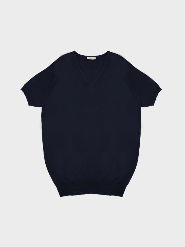 T-shirt scollo v navy
