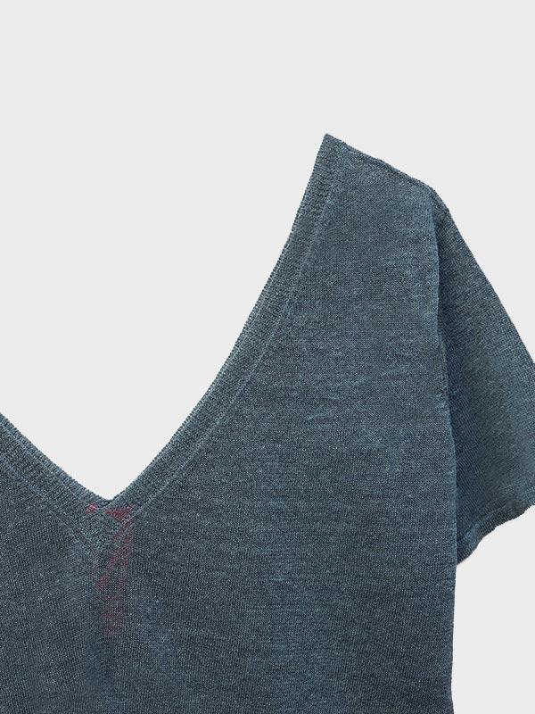t-shirt lino a V dett